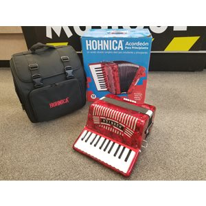 HOHNER - Hohnica 1303 Accordéon Piano - 26 KeysTouches / 12 Basses - Rouge